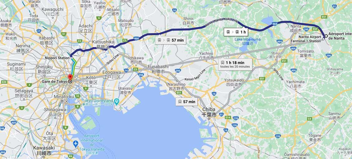 trajet de Narita à Tokyo