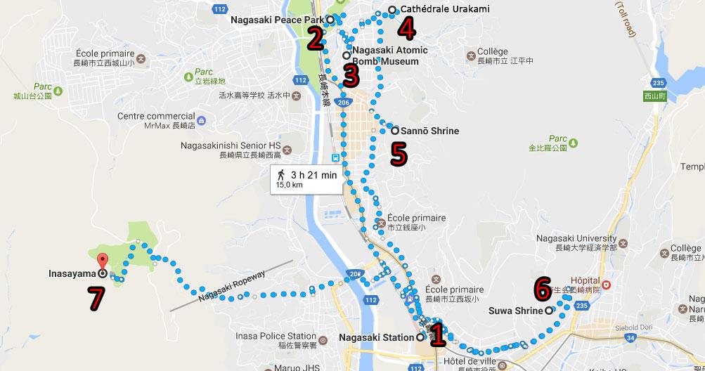 parcours journée à nagasaki